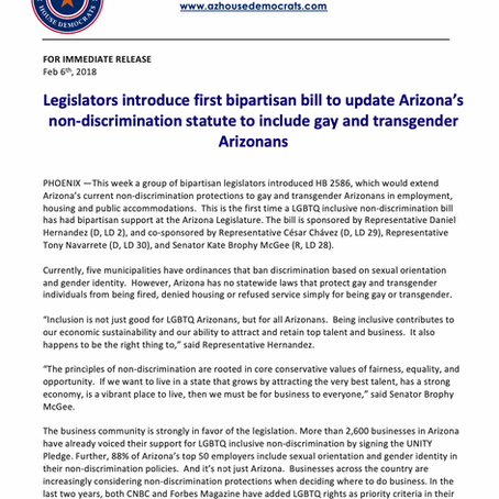Legislators introduce first bipartisan bill to update Arizona's non-discrimination statute