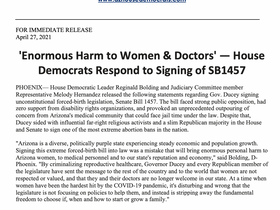 PRESS RELEASE: 'Enormous Harm to Women & Doctors' — House Democrats Respond to Signing of SB1457
