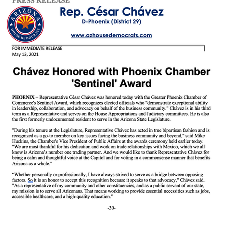 PRESS RELEASE: Chávez Honored with Phoenix Chamber 'Sentinel' Award