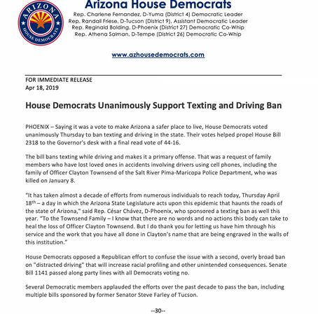 House Democrats Unanimously Support Texting and Driving Ban