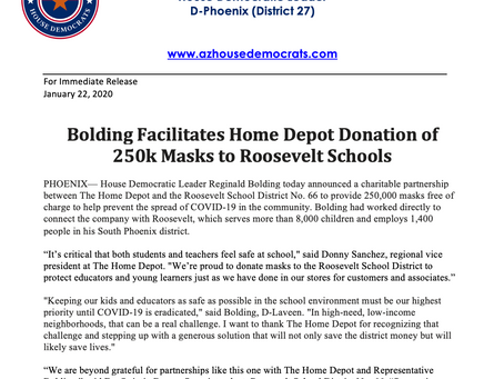 PRESS RELEASE: Bolding Facilitates Home Depot Donation of 250k Masks to Roosevelt Schools