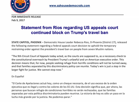Statement from Rios regarding US appeals court continued block of Trump's travel ban
