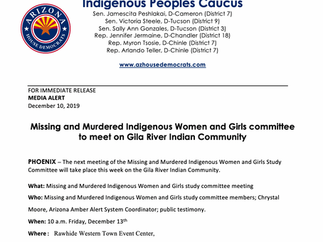 MEDIA ALERT: Missing and Murdered Indigenous Women and Girls committee to meet on Gila
