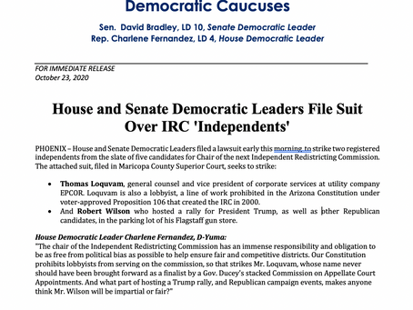 PRESS RELEASE: House and Senate Democratic Leaders File Suit Over IRC 'Independents'