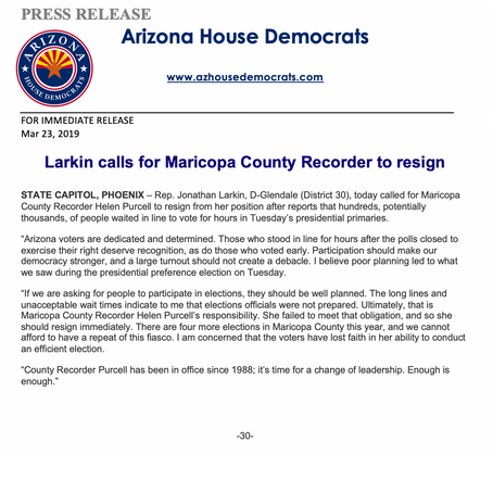 Larkin calls for Maricopa County Recorder to resign