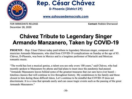 PRESS RELEASE: Chávez Tribute to Legendary Singer Armando Manzanero, Taken by COVID-19