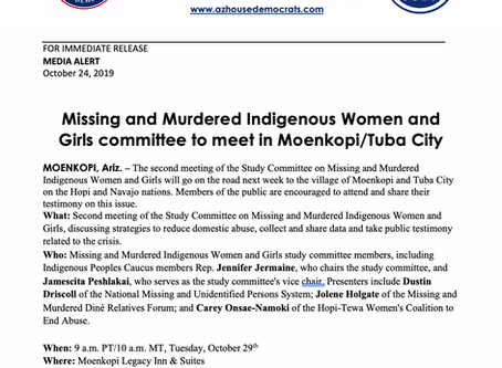 PRESS RELEASE: Missing and Murdered Indigenous Women and Girls to meet in Moenkopi/Tuba City
