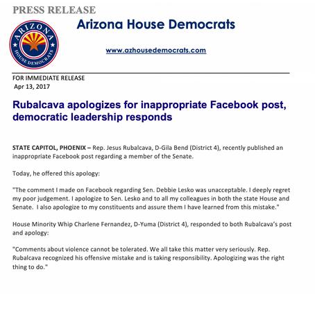 Rubalcava apologizes for inappropriate Facebook post, democratic leadership responds