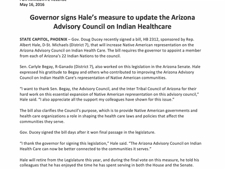Governor signs Hale's measure to update AZ Advisory Council on Indian Healthcare