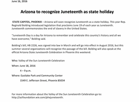 Arizona to recognize Juneteenth as a state holiday