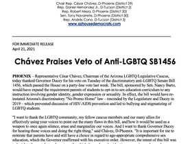 PRESS RELEASE: Chávez Praises Veto of Anti-LGBTQ SB1456