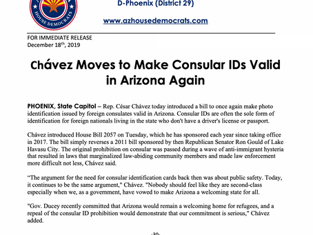 PRESS RELEASE: Chávez Moves to Make Consular IDs Valid in Arizona Again