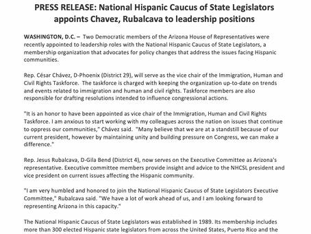 National Hispanic Caucus of State Legislators appoints Chavez, Rubalvaca to leadership positions