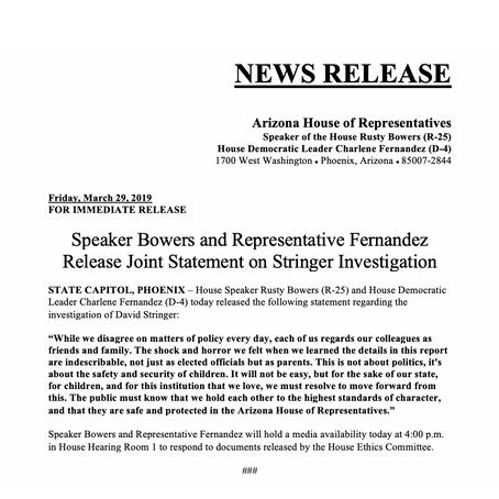 Speaker Bowers and Rep. Fernandez Release Joint Statement on Stringer investigation