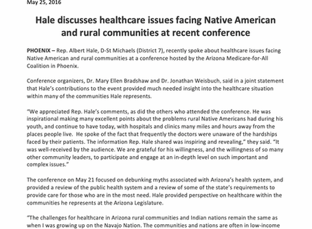 Hale discusses healthcare issues facing Native American and rural communities