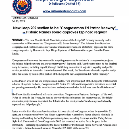 """PRESS RELEASE: New Loop 202 section to be """"Congressman Ed Pastor Freeway"""""""