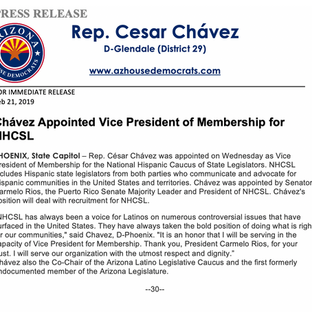 Rep. Cesar Chávez: Appointed VP of Membership for NHCSL