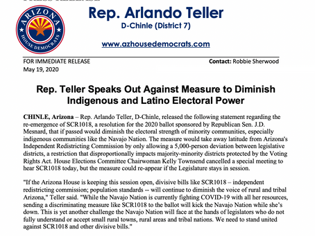 PRESS RELEASE: Teller Speaks Out Against Measure to Diminish Indigenous and Latino Electoral Power