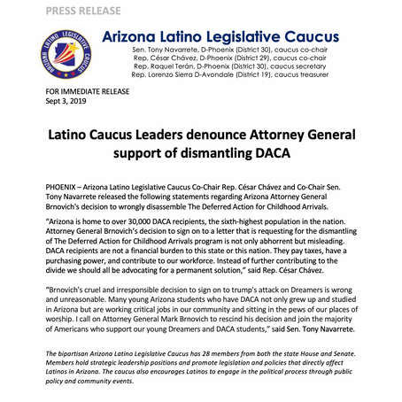 Latino Caucus Leaders denounce Attorney General support of dismantling DACA