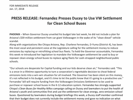 Fernandez Presses Ducey to Use VW Settlement for Clean School Buses
