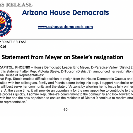 Statement from Meyer on Steele's resignation