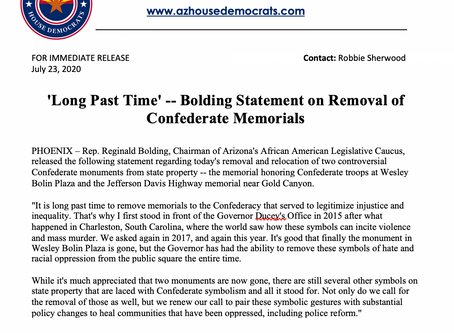 PRESS RELEASE: 'Long Past Time' -- Bolding Statement on Removal of Confederate Memorials