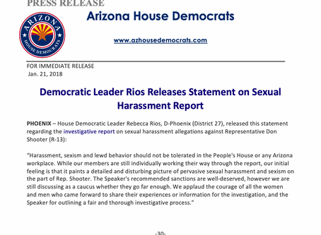 Democratic Leader Rios Releases Statement on Sexual Harassment Report