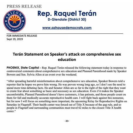 Terán Statement on Speaker's attack on comprehensive sex education
