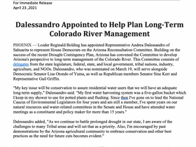 PRESS RELEASE: Dalessandro Appointed to Help Plan Long-Term Colorado River Management