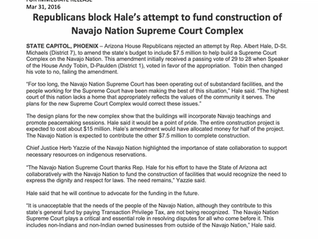 GOP blocks Hale's attempt to fund construction of Navajo Nation Supreme Court complex