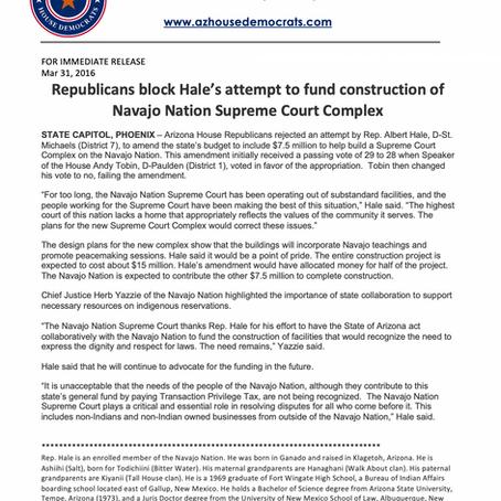 GOP blocks Hale's attempt to fund construction of Navajo Nation Supreme Court complex