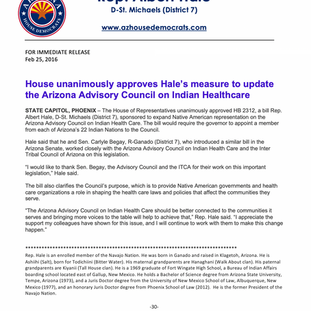House unanimously approves Hale's measure to update the AZ Advisory Council on Indian Healthcare