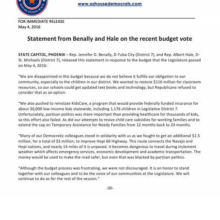 Statement from Benally and Hale on recent budget vote