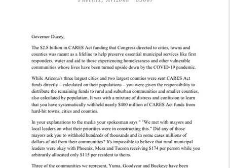 Letter from Reps. Fernandez, Peten and Sen. Otondo on Gov withholding CARES Act funds from rural AZ