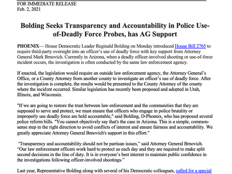 PRESS RELEASE: Bolding Seeks Transparency and Accountability in Police Use-of-Deadly Force Probes