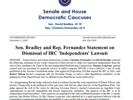 PRESS RELEASE: Sen. Bradley and Rep. Fernandez Statement on Dismissal of IRC 'Independents'Lawsuit