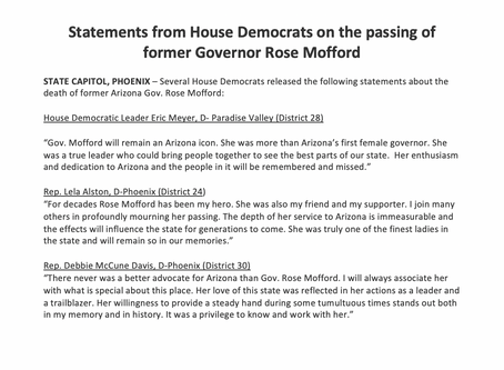 Statements from House Democrats on the passing of former Governor Rose Mofford