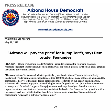'Arizona will pay the price' for Trump Tariffs, says Dem Leader Fernandez