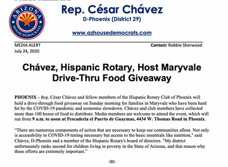 MEDIA ALERT: Chávez, Hispanic Rotary, Host Maryvale Drive-Thru Food Giveaway