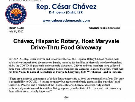 MEDIA ALERT: Chávez, Hispanic Rotary, Host Maryvale Drive-Thru Food Giveaway