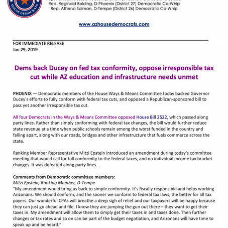 Dems back Ducey on fed tax conformity, oppose irresponsible tax cut...