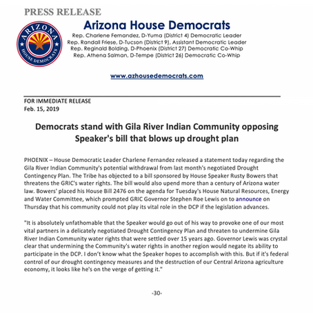 Democrats stand with Gila River Indian Community opposing Speaker's bill...