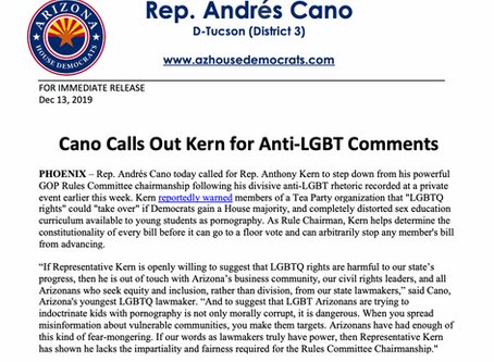 PRESS RELEASE: Cano Calls out Kern on anti-LGBT Comments