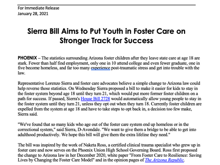 PRESS RELEASE: Sierra Bill Aims to Put Youth in Foster Care on Stronger Track for Success