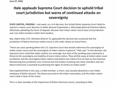 Hale applauds Supreme Court decision to uphold tribal court jurisdiction