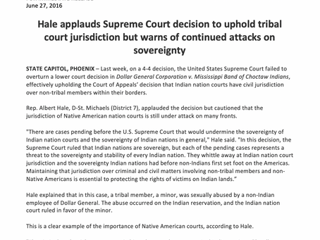 Hale applauds Supreme Court decision to uphold tribal court jurisdiction