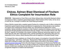 PRESS RELEASE: Chávez, Salman Blast Dismissal of Finchem Ethics Complaint for Insurrection Role