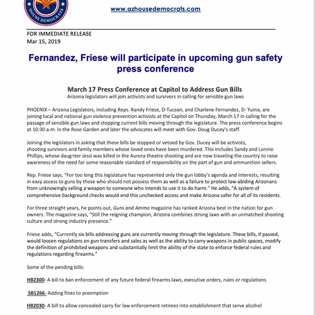 Fernandez, Friese to participate in upcoming gun safety press conference