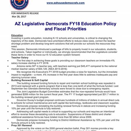 AZ Legislative Democrats FY18 Education Policy and Fiscal Priorities