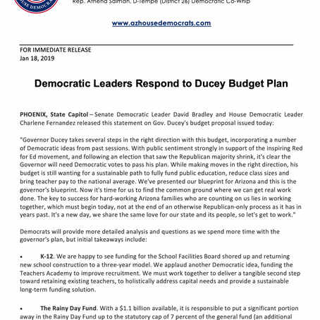 Demcratic Leaders Respond to Ducey Budget Plan
